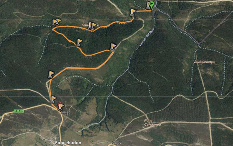 Mapa ruta corta Cascada de la Fervencia