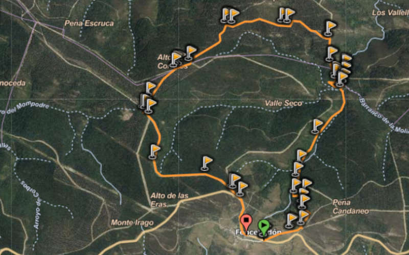 Mapa ruta larga Cascada de la Fervencia
