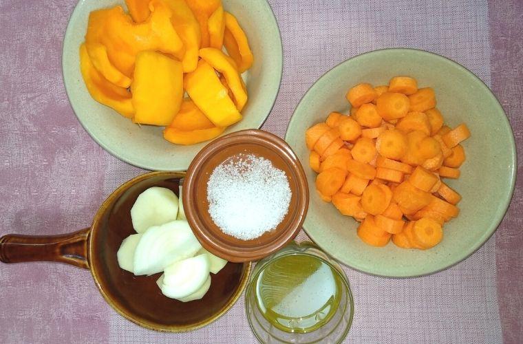 Ingredientes Crema de Calabaza y Zanahoria